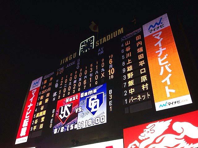 楽しかった神宮球場でのプロ野球ナイター観戦