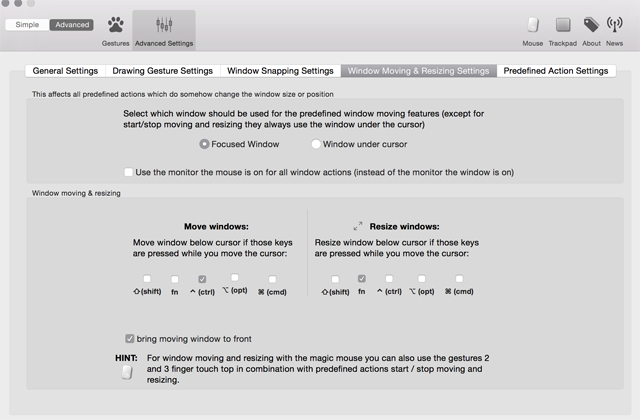 「BetterTouchTool」Window Moving & Resizing Settings