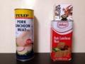 [沖縄][スパム][肉][缶詰][郷土料理][海][旅][イベント][2016]翌朝、片方のスパム缶が直立していてちょっとビックリ