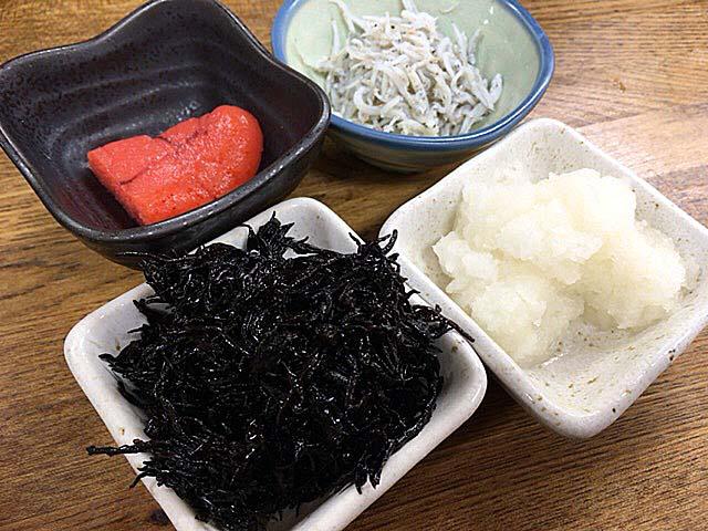 明太子・ひじき・大根おろし・しらすの各小鉢@渋谷「魚力」