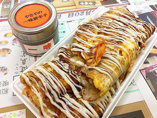 谷中銀座「いか焼 やきや」のいか焼チーズ&キムチ