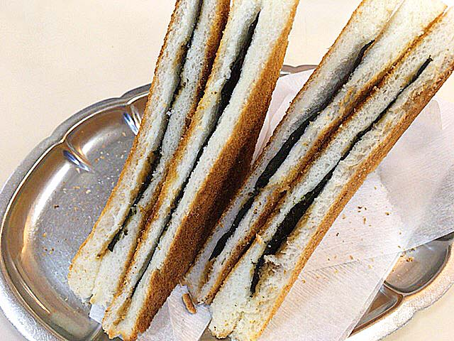 元祖のりトーストは1つにつき8枚切り食パン4枚分を使用@神田「珈琲専門店 エース」