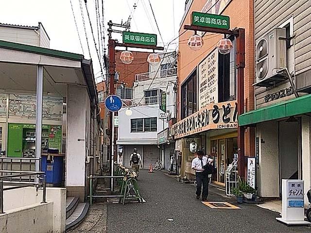 小じんまりとした美章園駅前商店街