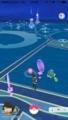 [千駄ヶ谷][国立競技場][ラーメン][野球]ビリリダマの横でアレなミニリュウと緑のハリーセン@ポケモンGO