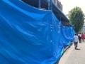 [築地][築地市場][和食][定食・食堂][丼もの]火災鎮火から数日後、ブルーシートで覆われる築地場外市場