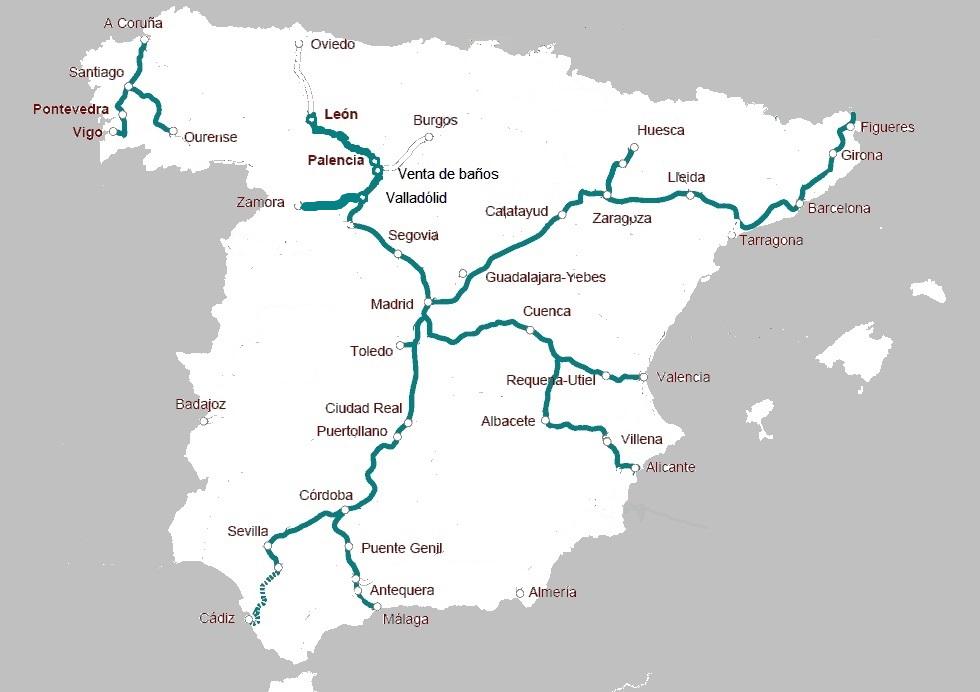 スペイン Renfe ave 路線網