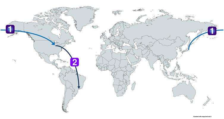 日本からアメリカ経由でブラジルまで行くルート