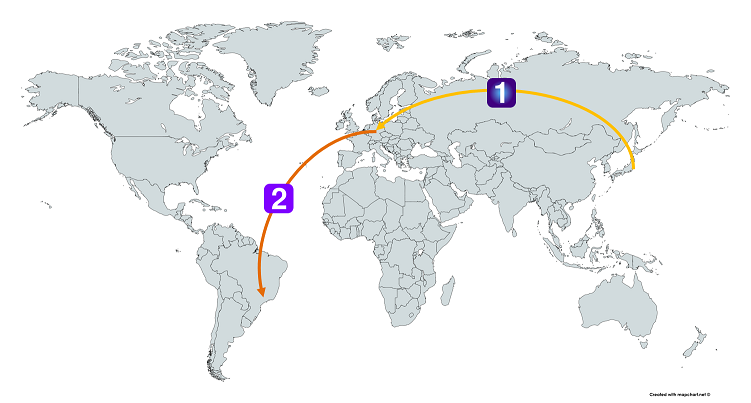 日本からヨーロッパ経由でブラジルまで行くルート