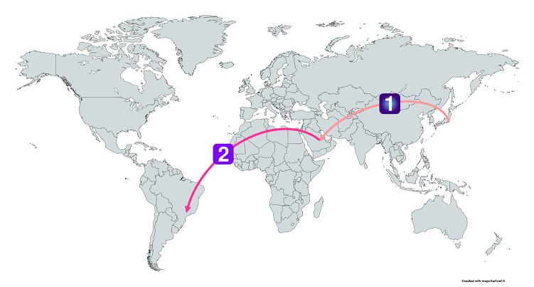 日本から中東経由でブラジルまで行くルート