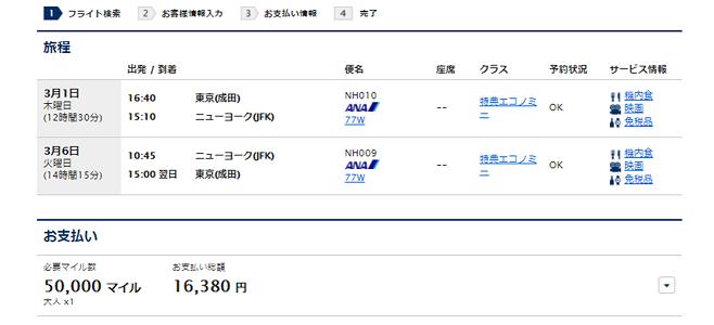 ANA国際線特典航空券でニューヨークに行く場合