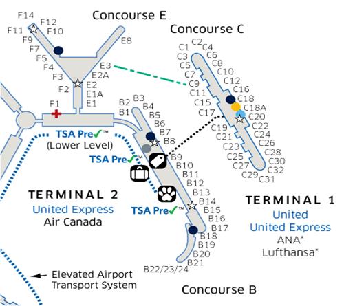 シカゴオヘア空港ターミナル1&2 マップ