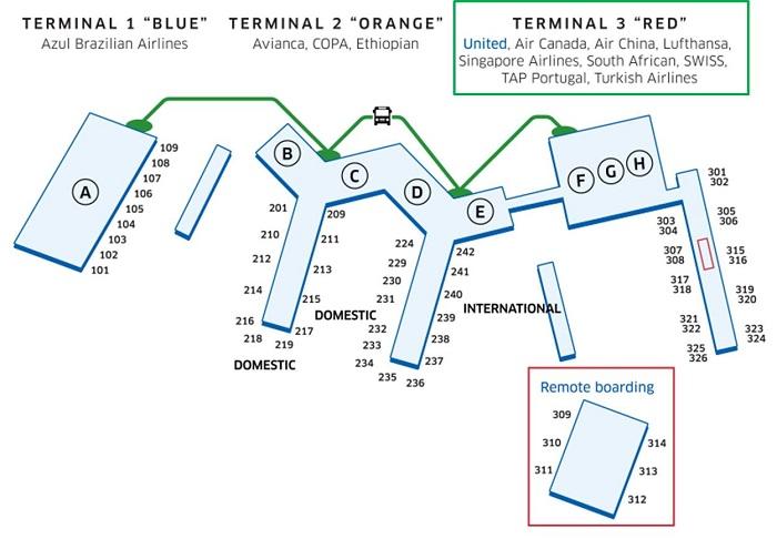 スターアライアンス加盟航空会社利用のサンパウロ・グアルーリョス空港ターミナル3の地図