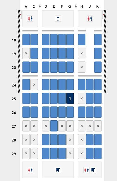 ANA国際線24時間前オンラインチェックインの際の空席状況