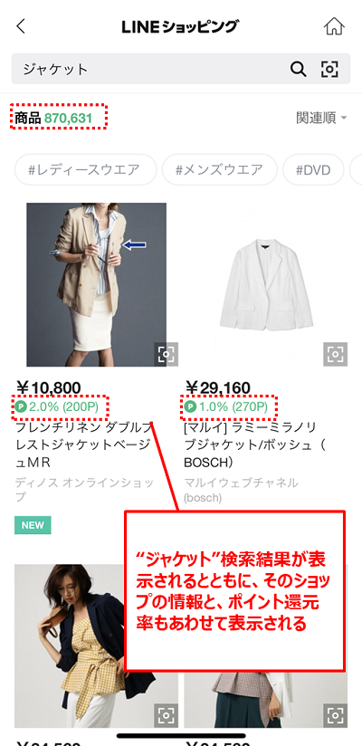 LINEショッピング検索機能②