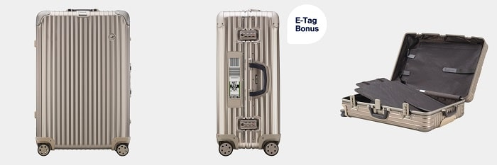 RIMOWA Lufthansa Private Jet Collection Multiwheel® XL+ Trolley with RIMOWA Electronic Tag, Titanium