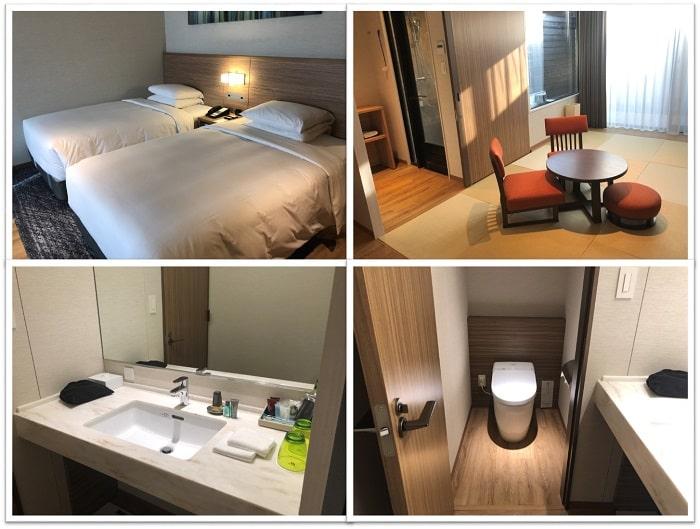 軽井沢マリオットホテル、ツインベッド、和室、洗面台、トイレ