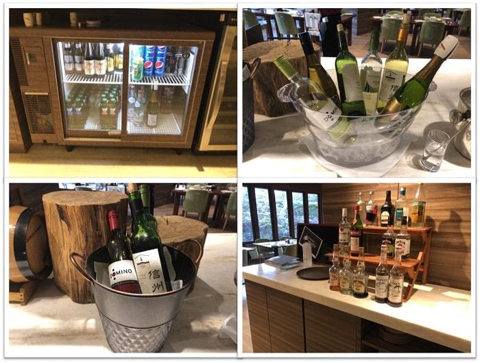 軽井沢マリオットホテル ラウンジ ビール 白ワイン・スパークリングワイン・赤ワイン・スピリッツ