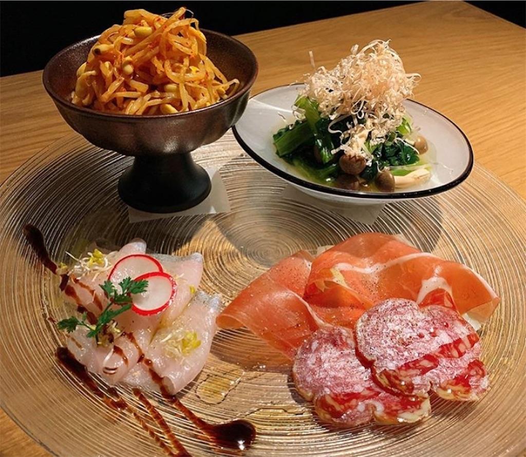 前菜4種盛り合わせ、鮮魚のカルパッチョ
