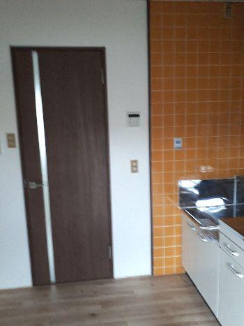 キッチンから洗面所へのドア
