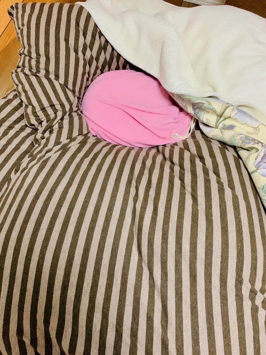 毛布の下に湯たんぽを忍ばせる
