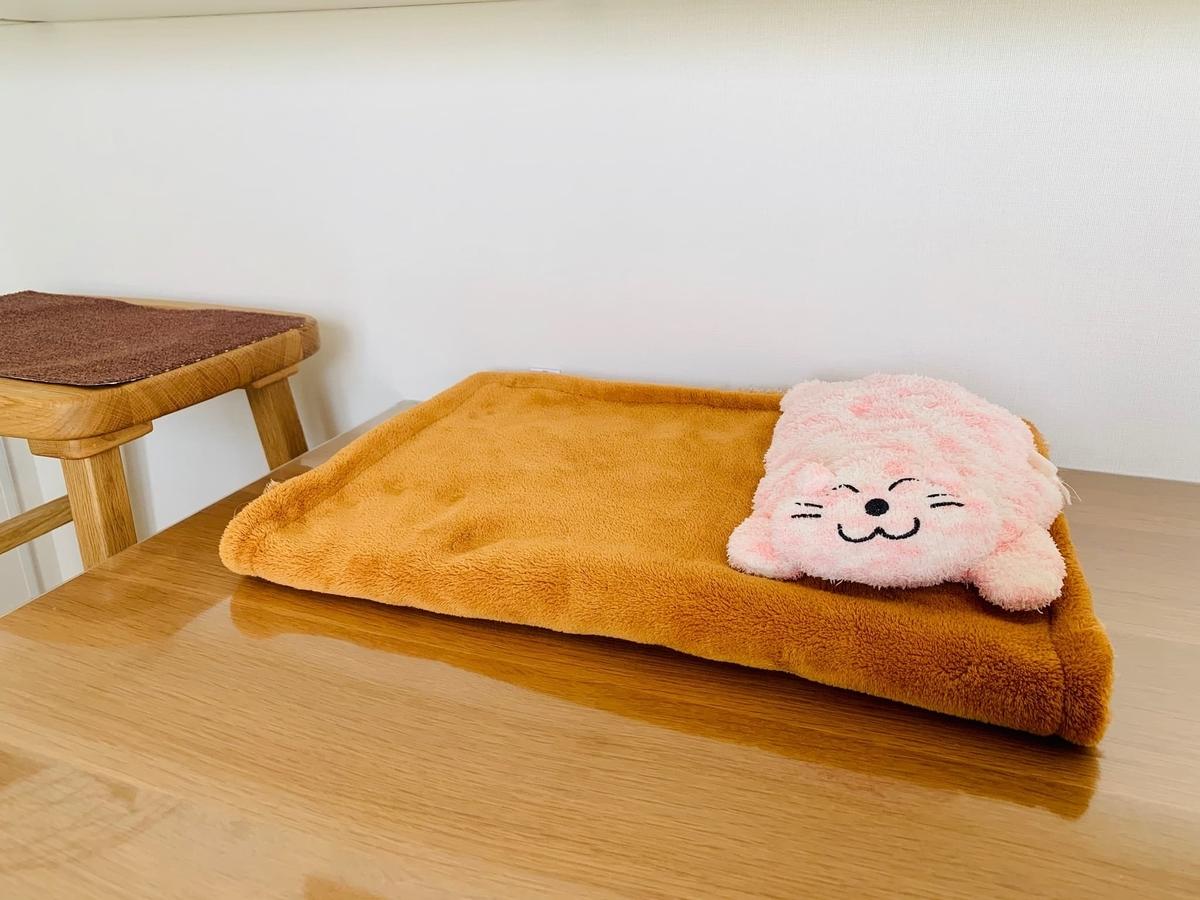 テーブルの上の寝床