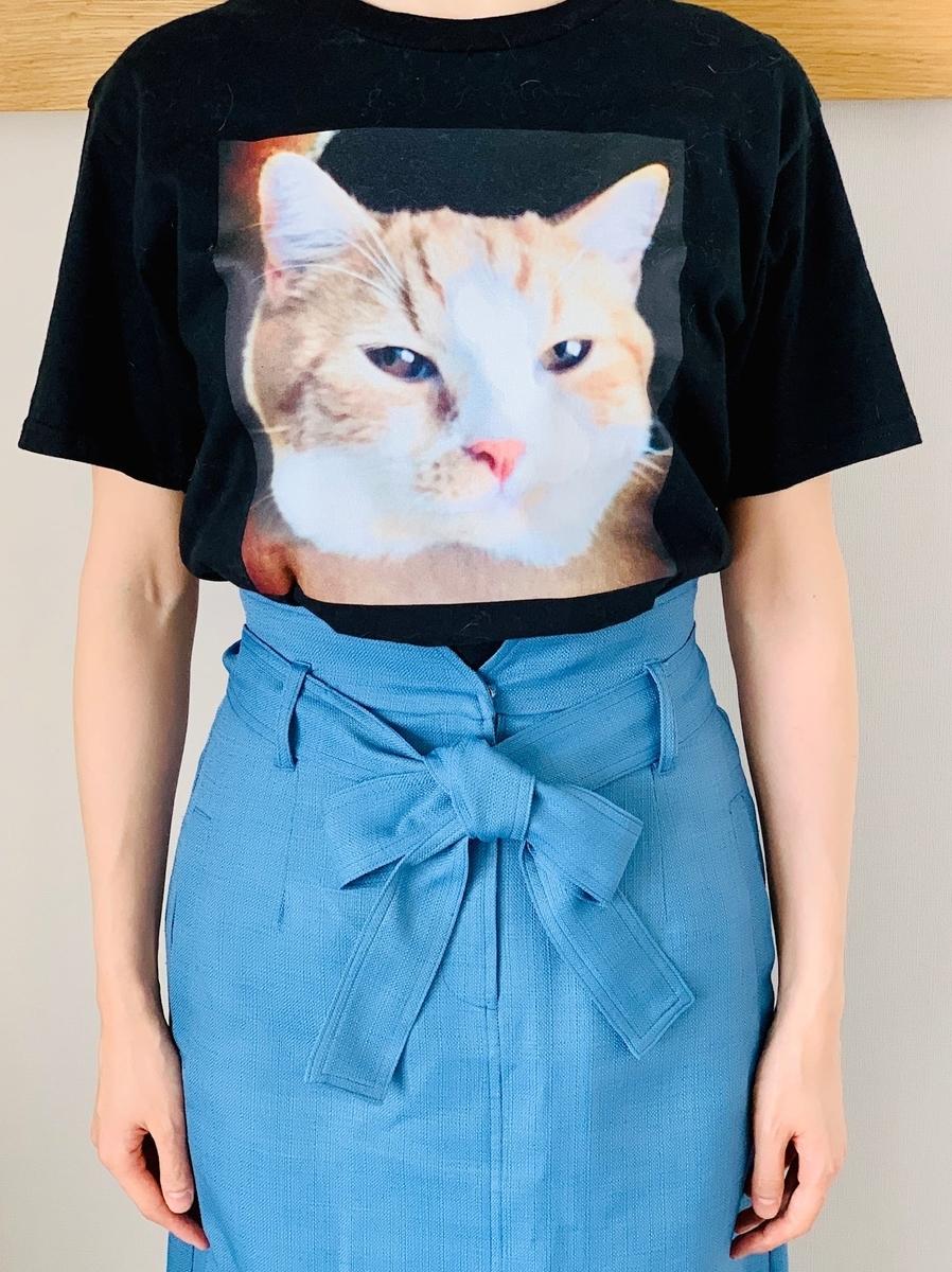 愛猫のTシャツの試着感2