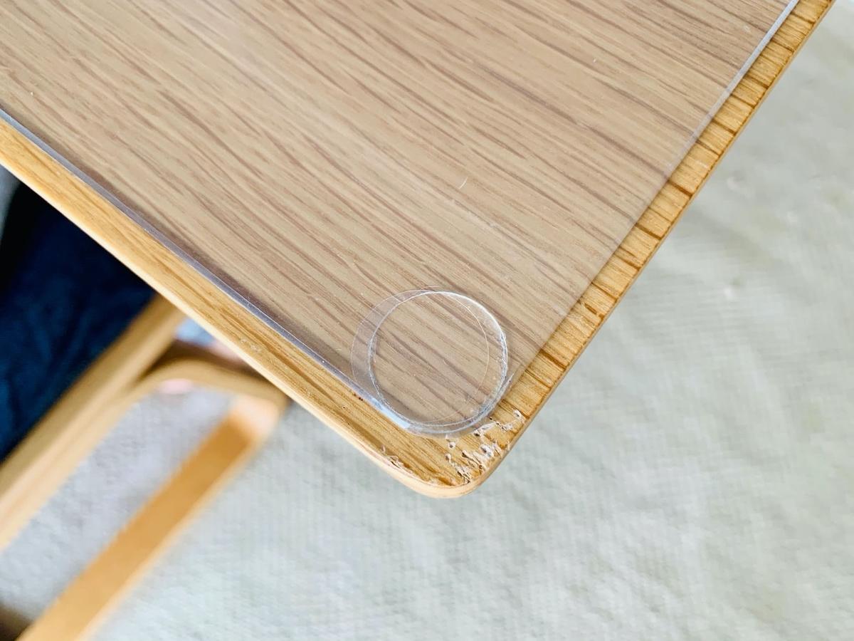 テーブルの角