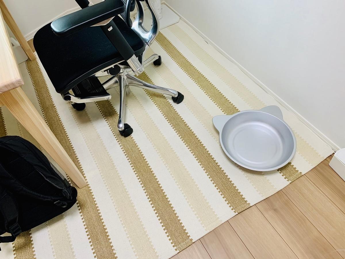 仕事部屋に置いたひんやり猫鍋