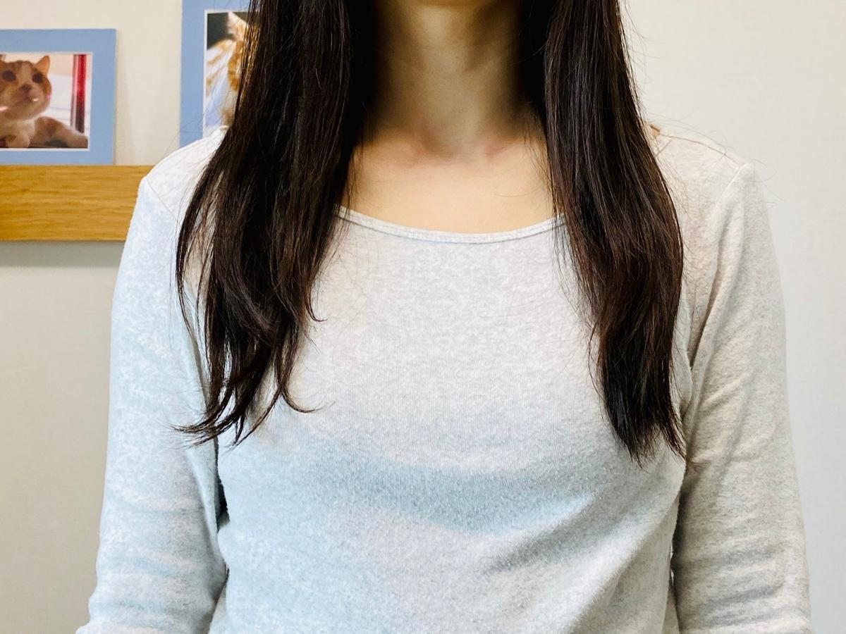 セルフカット前の髪型