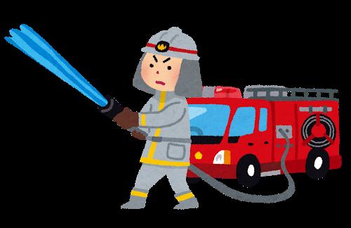 消防士と消防車