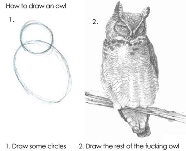 図:フクロウの描き方