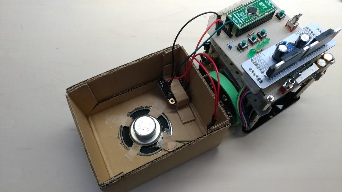 MP3ボイスモジュールをクラシックマウスに接続した様子