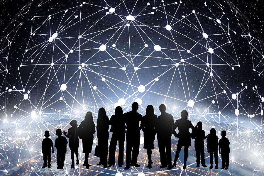 ネットワークと下に集う人々のイメージ
