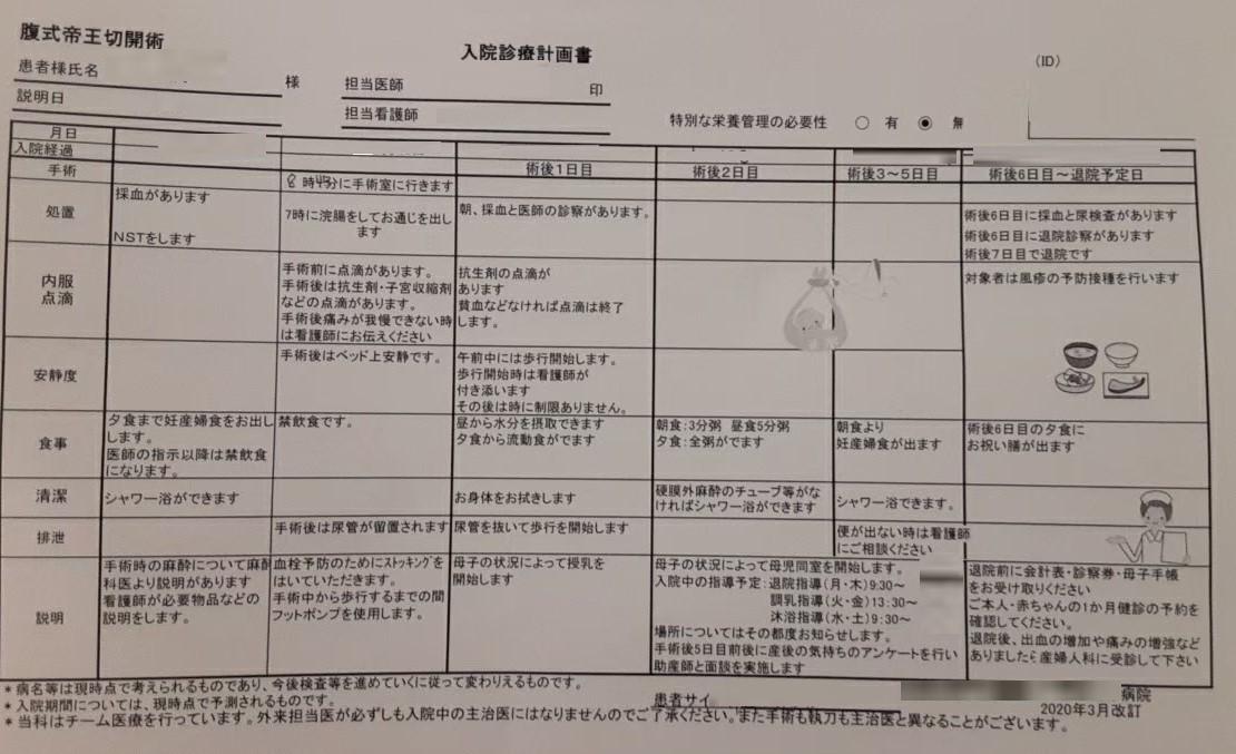 病院から渡された入院診療計画書、処置内容や安静度などの項目別に説明が記載されています