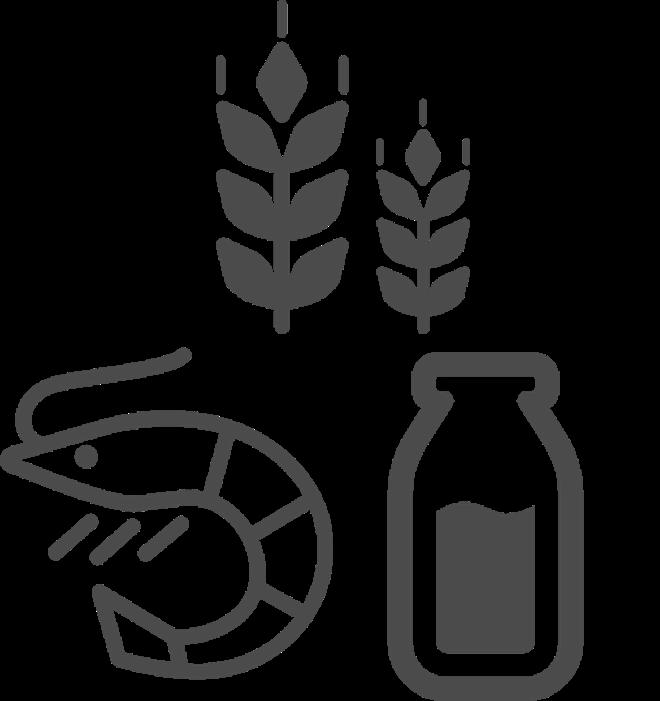 料理の材料、小麦やエビ、ミルクなど