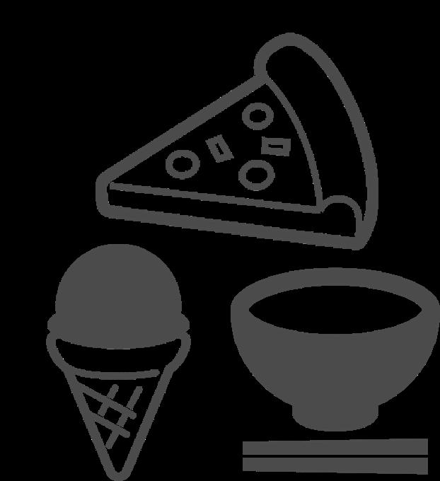 完成した料理のイメージ、ピザやアイスクリーム、ごはんなど