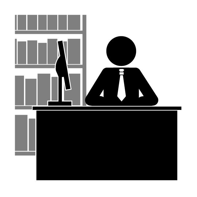 本棚の前に座る人物のピクトグラム、図書館のイメージイラストです。
