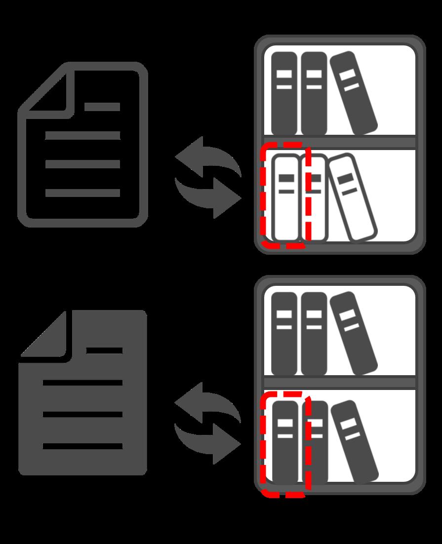 上のプログラムAからはVersion1.0.0の本棚に存在している本、下のプログラムBからはVersion2.0.0の本棚に新しく追加された本を参照しています。