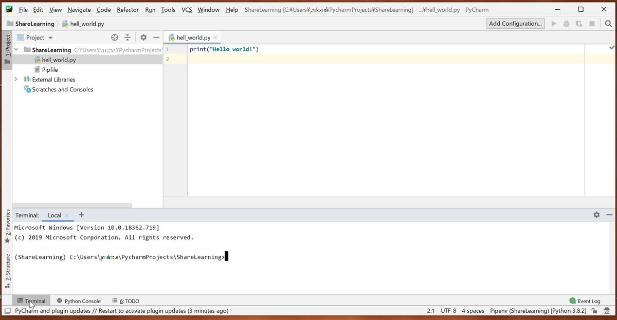 PyCharm下部に表示されているTerminalをクリックするとウィンドウが開きます。