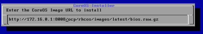 CoreOS Image URLの入力