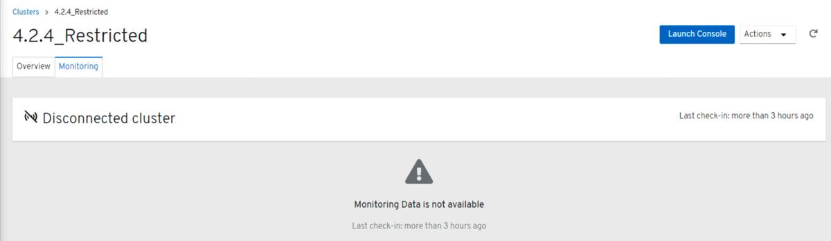 クラスターの登録後、Monitoring画面