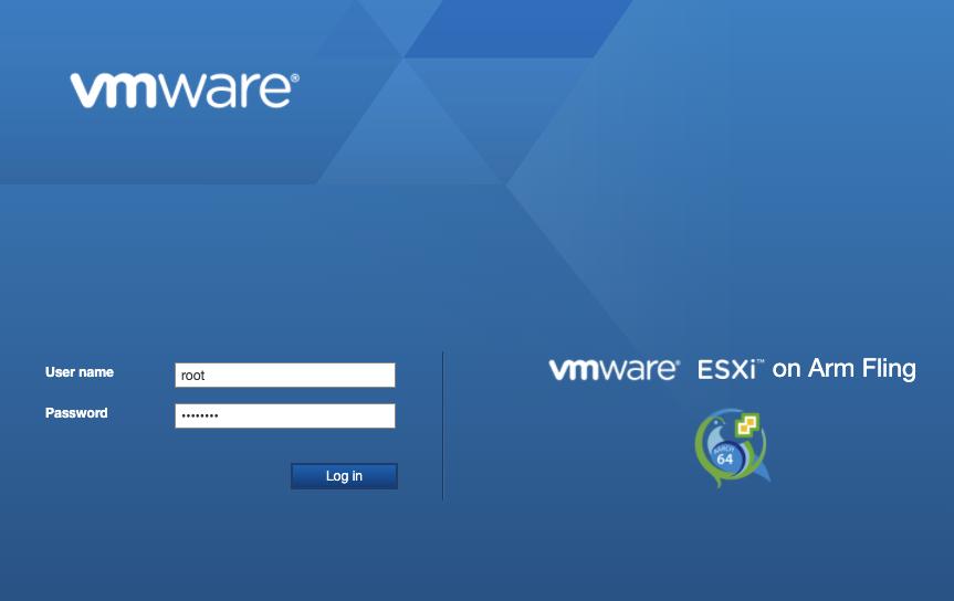 VMware Host Client ログイン画面