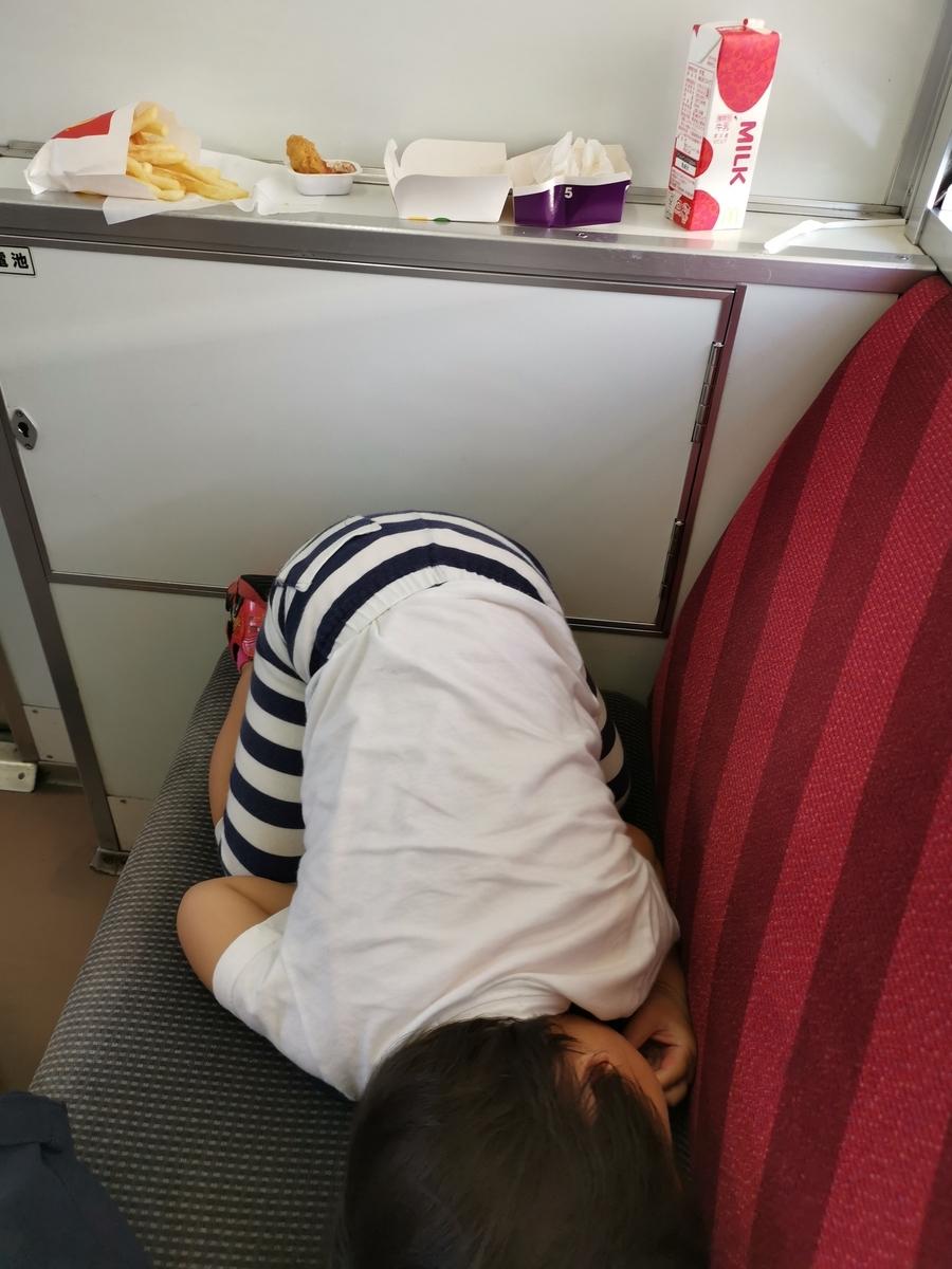 電車内で寝る息子子供