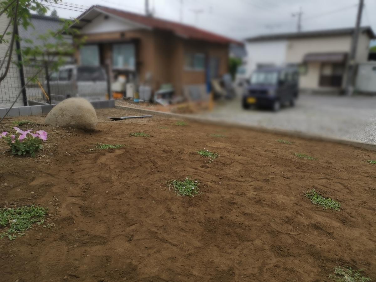 庭を平らにするため踏み固める