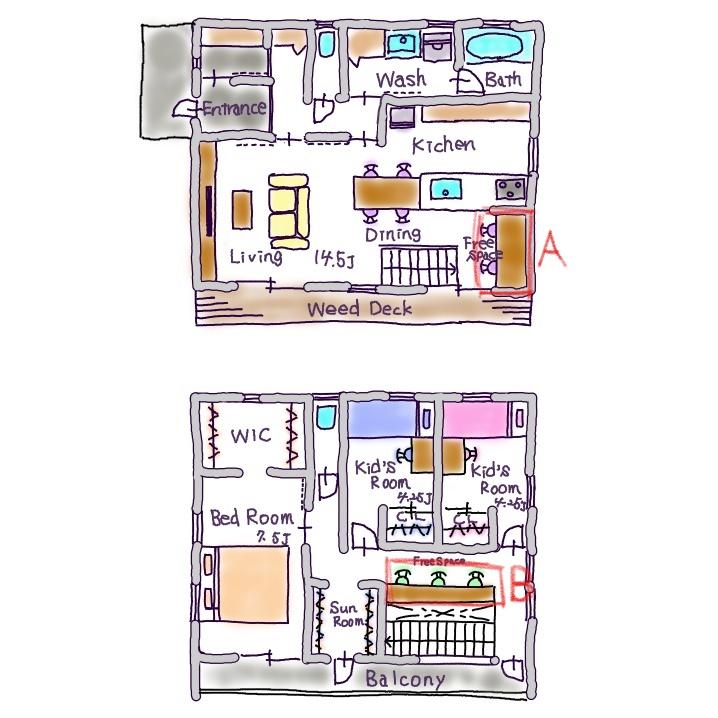 1階と2階にワークスペースのある間取り