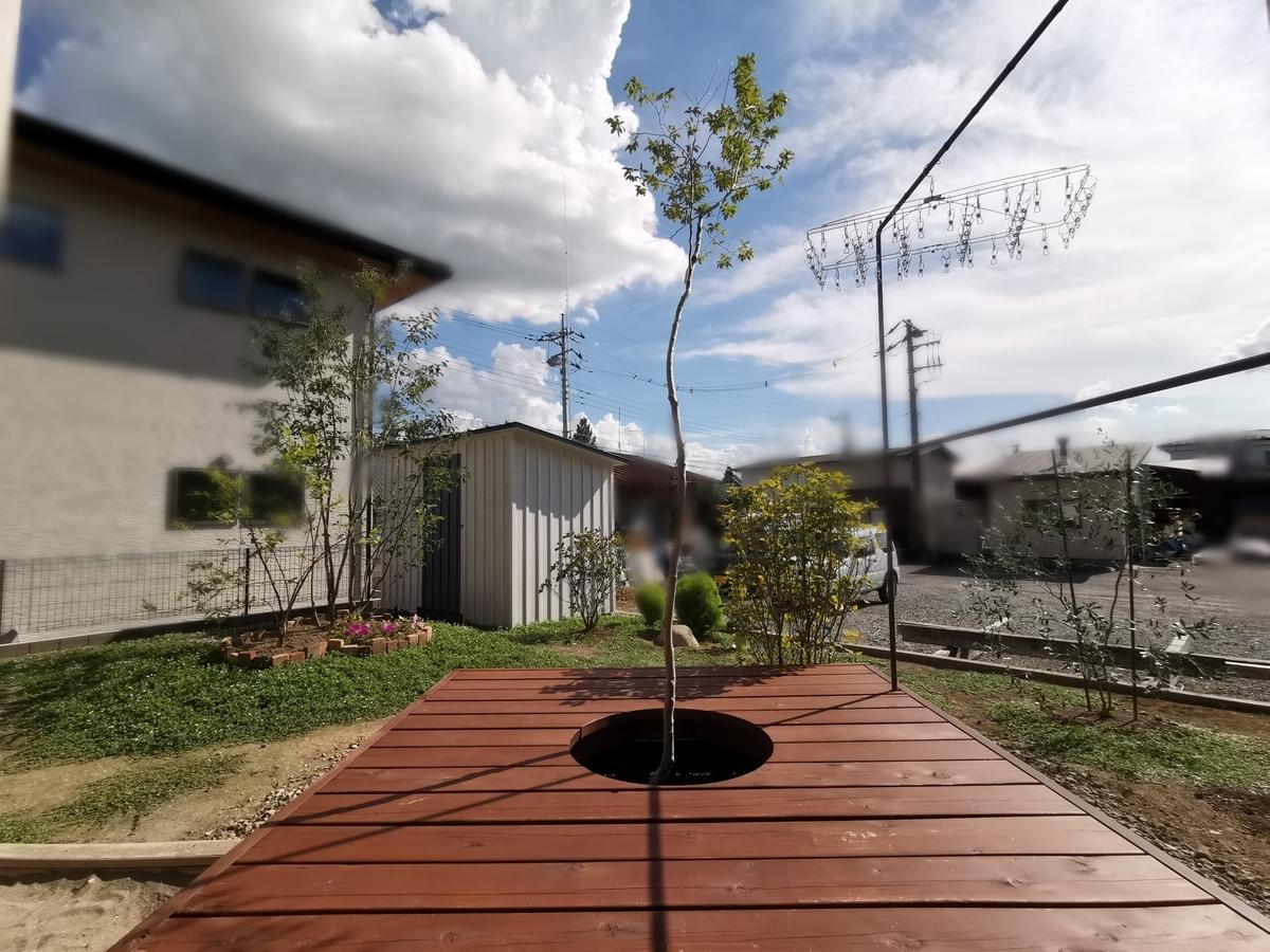 ウッドデッキと植栽