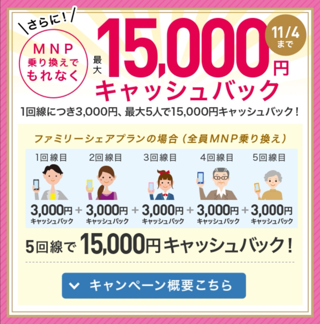 IIJ-mioのキャンペーン乗り換えキャッシュバック