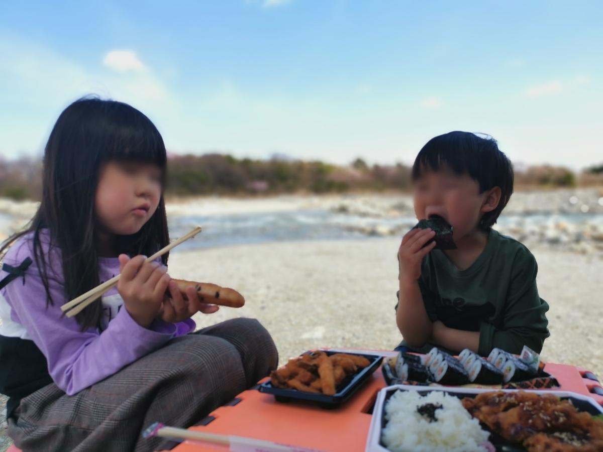 那須塩原の川原でピクニック