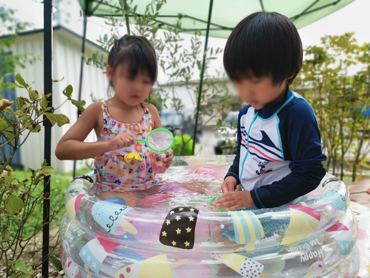 ミニプールで遊ぶ姉弟