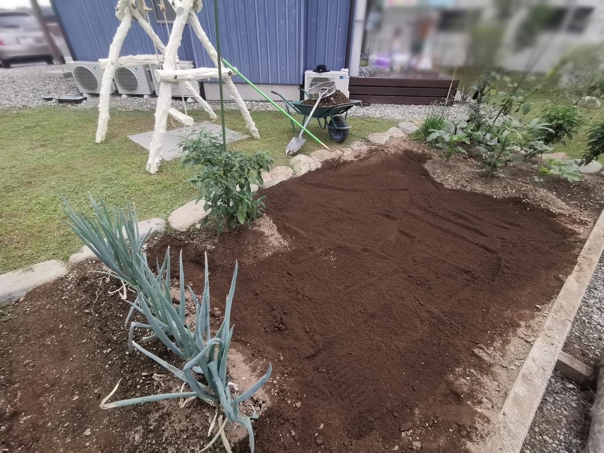 土ふるい後の家庭菜園